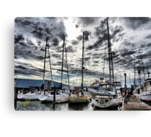 Oak Harbor Marina and Clouds Canvas Print