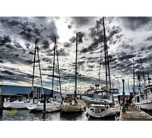 Oak Harbor Marina and Clouds Photographic Print
