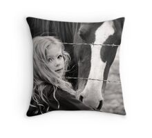All horses deserve, at least once in their lives, to be loved by a little girl... Throw Pillow