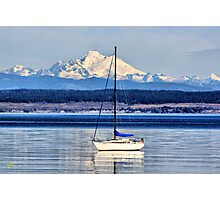 Waves, Boat, Mountain Photographic Print