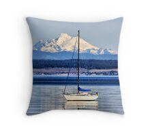 Waves, Boat, Mountain Throw Pillow