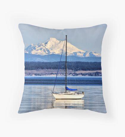 Waves, Boat, Mountain Throw Pillow