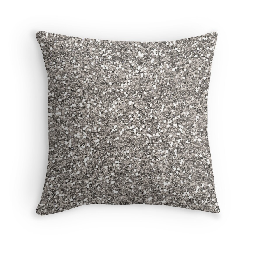 Large Silver Throw Pillow :