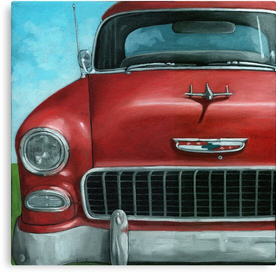 55' Chevy Vintage Car oil painting by LindaAppleArt