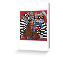 'Cracked Cat-Burglars' - Naughty Pussy Cats! Greeting Card