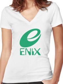 ENIX Logo Green Women's Fitted V-Neck T-Shirt
