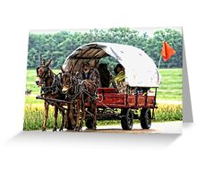 A Team of Small Mules Pulling a Wagon Greeting Card