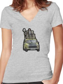 Mr Bean on his Mini Women's Fitted V-Neck T-Shirt