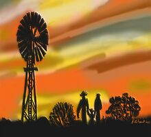 Outback Family at sunset  by kreativekate