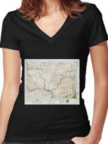 USGS Topo Map Washington Walla Walla 244506 1953 250000 Women's Fitted V-Neck T-Shirt
