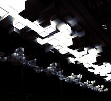Cubic ceiling lights - black and white by Logen Teo