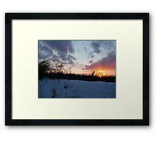Sunset under the barbed fence Framed Print