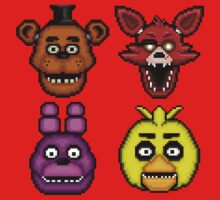 Five Nights at Freddy's 1 - Pixel art - The Classic 4 One Piece - Short Sleeve