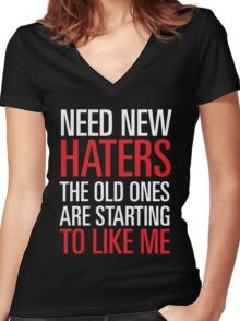 new haters Women's Fitted V-Neck T-Shirt