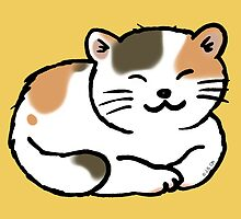 Sleepy calico kitty cat by CuteCartoon