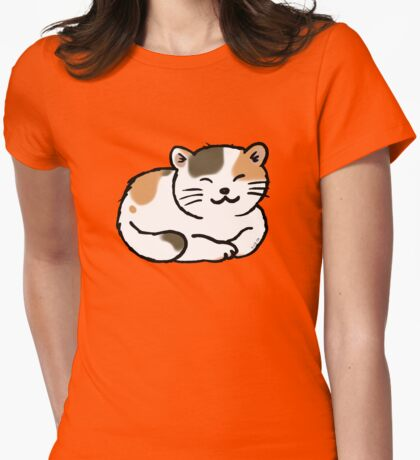 Sleepy calico kitty cat Womens Fitted T-Shirt