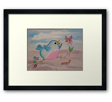 Jump for Joy - Blue Bird and Friends series - Art for a childs Room Framed Print