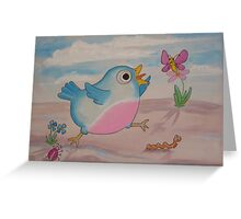 Jump for Joy - Blue Bird and Friends series - Art for a childs Room Greeting Card