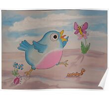 Jump for Joy - Blue Bird and Friends series - Art for a childs Room Poster