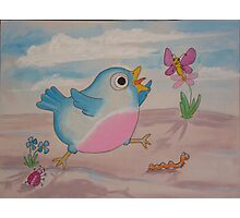 Jump for Joy - Blue Bird and Friends series - Art for a childs Room Photographic Print