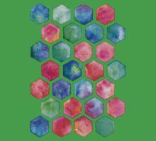 Hand Painted Watercolor Honeycomb Pattern Kids Tee