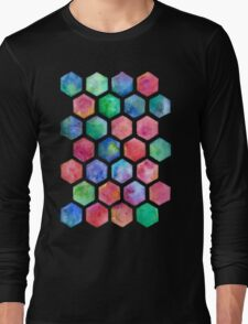 Hand Painted Watercolor Honeycomb Pattern Long Sleeve T-Shirt