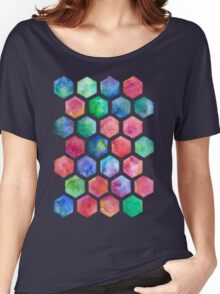 Hand Painted Watercolor Honeycomb Pattern Women's Relaxed Fit T-Shirt