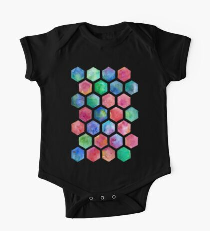 Hand Painted Watercolor Honeycomb Pattern One Piece - Short Sleeve