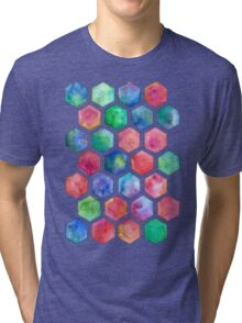 Hand Painted Watercolor Honeycomb Pattern Tri-blend T-Shirt