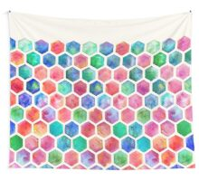 Hand Painted Watercolor Honeycomb Pattern Wall Tapestry