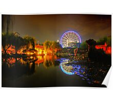 Chinese garden at night Poster