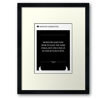 Ministry of Monsters: A Message on Fear Framed Print