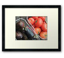 Eggplant and Tomatoes Framed Print