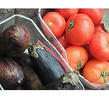 Eggplant and Tomatoes Photographic Print