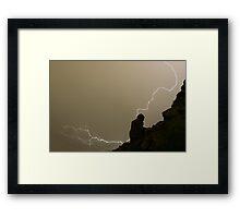 The Praying Monk Lightning Strike Sepia Print Framed Print