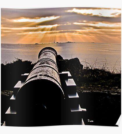Sunset Over Prosperity Memorial Canon - Guernsey Poster
