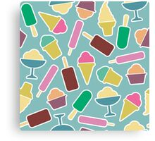 Seamless pattern with ice cream Canvas Print