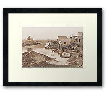 Blue Rocks - Line Art Framed Print