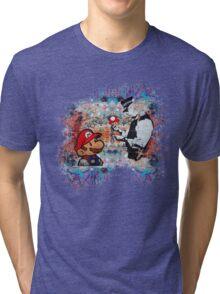 Banksy street art Graffiti London Cop Super Mario Funny Parody Tri-blend T-Shirt