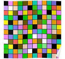 checkerboard Color Blocks Pastel Pattern Poster