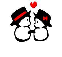 cute snowman couple vector art Photographic Print