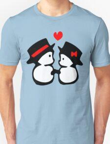 cute snowman couple vector art T-Shirt