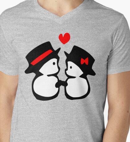 cute snowman couple vector art Mens V-Neck T-Shirt