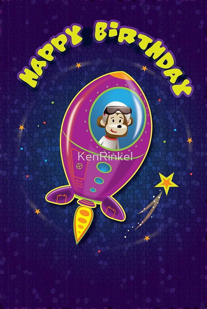 Monkey Mission Birthday Card by KenRinkel