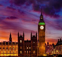 Fiery Night of the  Big Ben by salim madjd