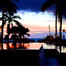 sunset over sheraton resort pool by chelka09