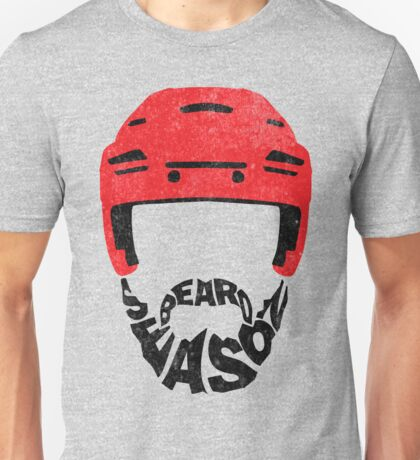 Hockey Beard Season, Red Helmet Unisex T-Shirt