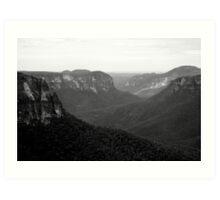 Black & White Blue Mountains Art Print