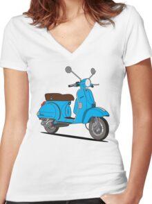Vespa PX 150 Blue Women's Fitted V-Neck T-Shirt