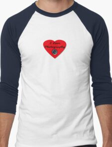 I Love Photography Shirt and Sticker Men's Baseball ¾ T-Shirt